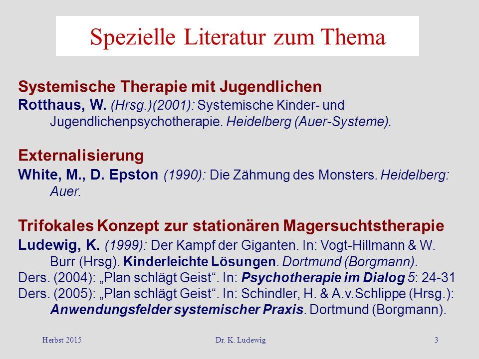 Herbst 2015Dr. K. Ludewig3 Spezielle Literatur zum Thema Systemische Therapie mit Jugendlichen Rotthaus, W. (Hrsg.)(2001): Systemische Kinder- und Jug