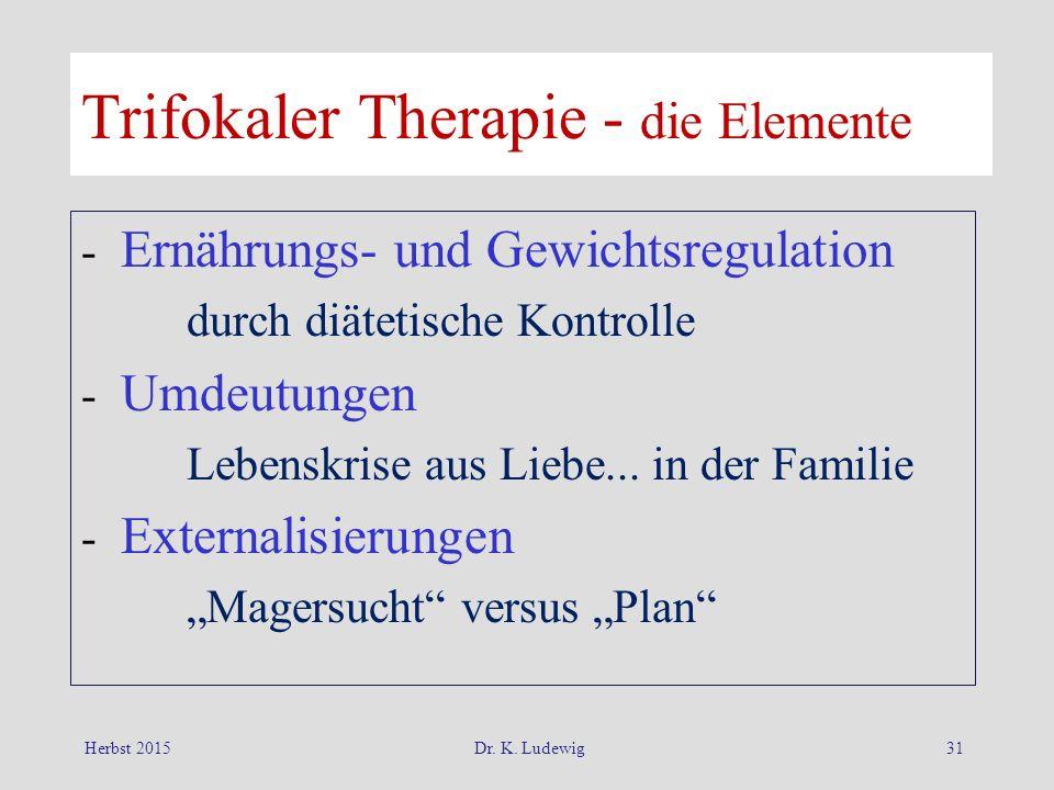 Herbst 2015Dr. K. Ludewig31 Trifokaler Therapie - die Elemente - Ernährungs- und Gewichtsregulation durch diätetische Kontrolle - Umdeutungen Lebenskr