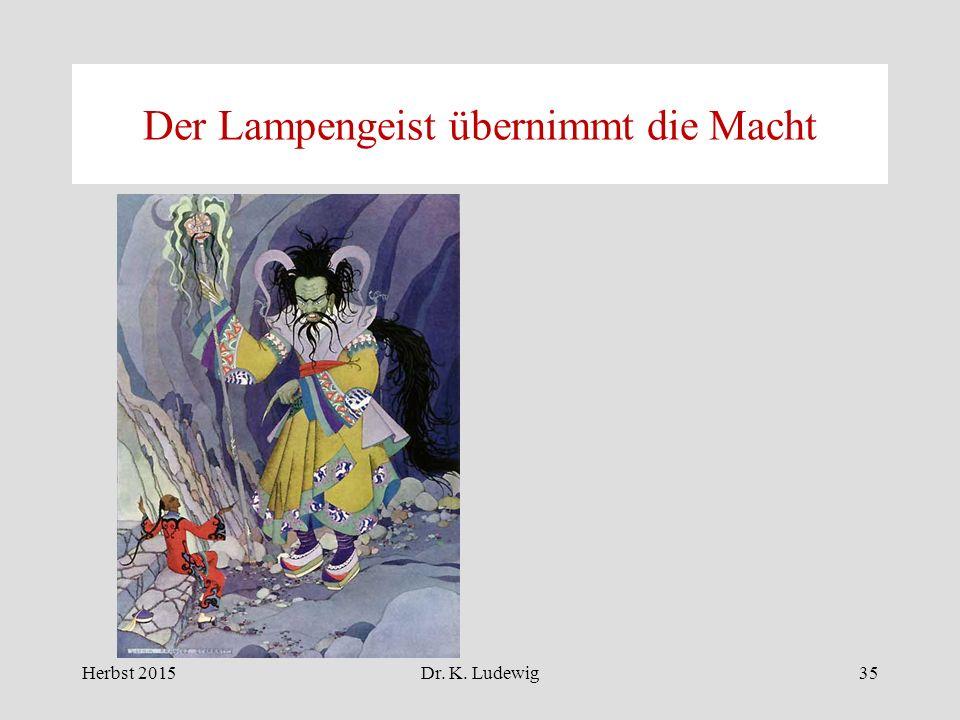 Der Lampengeist übernimmt die Macht Herbst 201535Dr. K. Ludewig