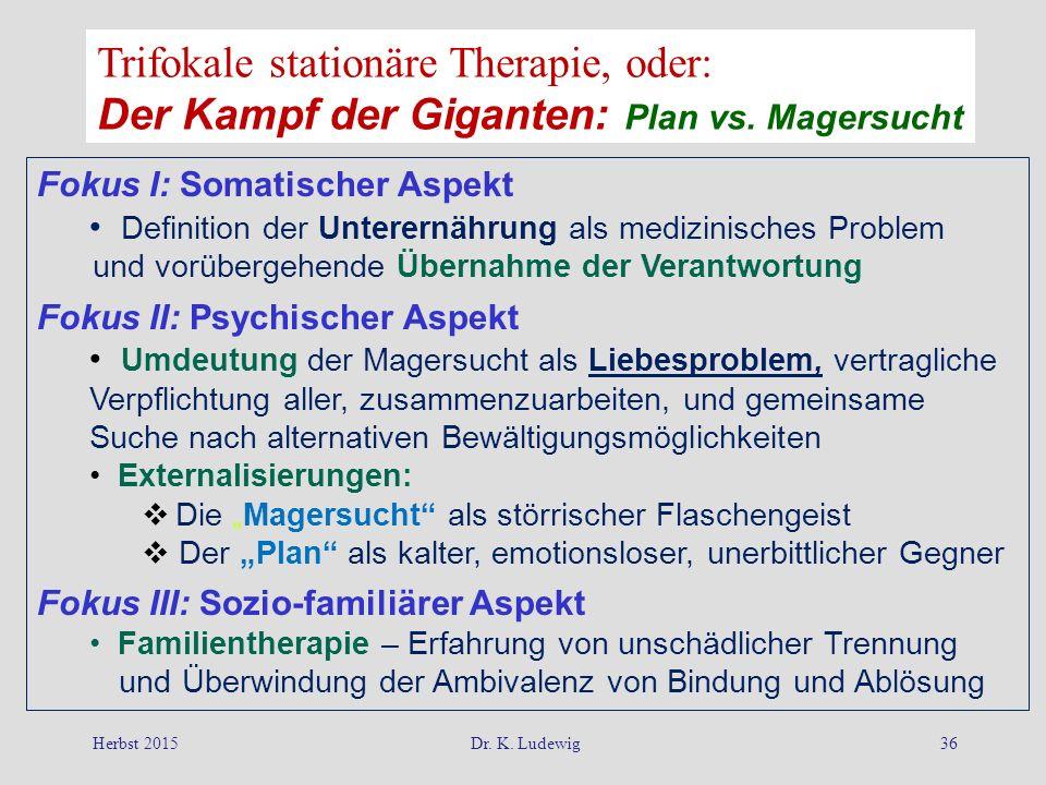 Herbst 2015Dr. K. Ludewig36 Fokus I: Somatischer Aspekt Definition der Unterernährung als medizinisches Problem und vorübergehende Übernahme der Veran