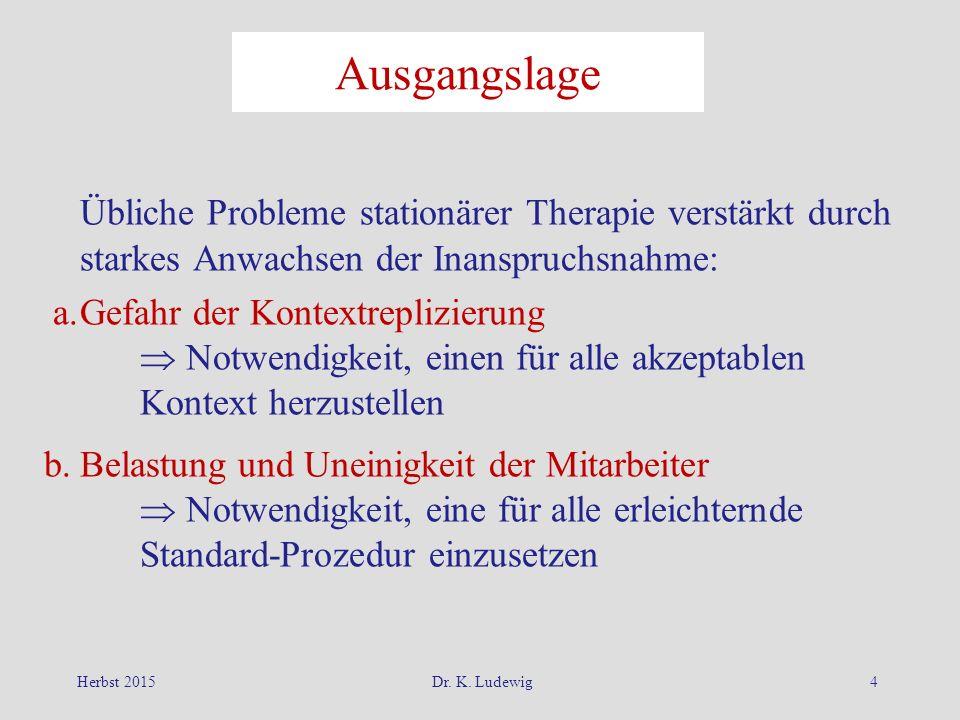 Herbst 2015Dr. K. Ludewig4 Ausgangslage Übliche Probleme stationärer Therapie verstärkt durch starkes Anwachsen der Inanspruchsnahme: a.Gefahr der Kon