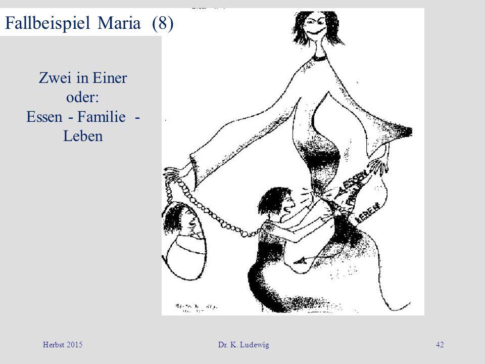 Herbst 2015Dr. K. Ludewig42 Zwei in Einer oder: Essen - Familie - Leben Fallbeispiel Maria (8)