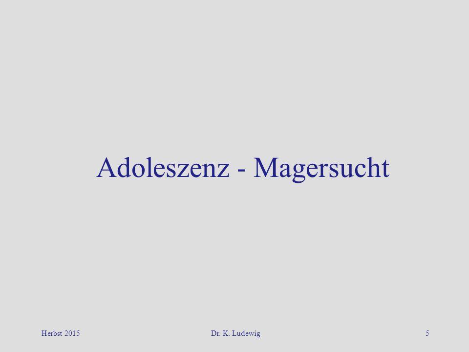 Herbst 2015Dr. K. Ludewig5 Adoleszenz - Magersucht