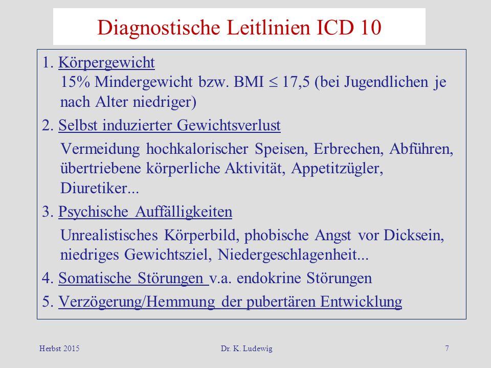 Herbst 2015Dr. K. Ludewig7 Diagnostische Leitlinien ICD 10 1. Körpergewicht 15% Mindergewicht bzw. BMI  17,5 (bei Jugendlichen je nach Alter niedrige