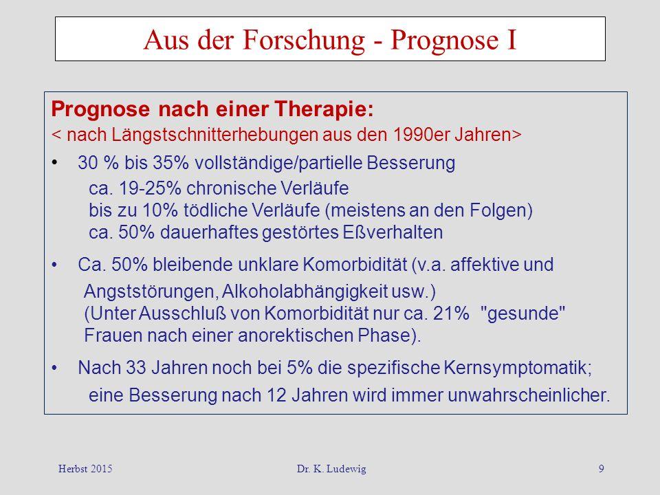 Herbst 2015Dr. K. Ludewig9 Aus der Forschung - Prognose I Prognose nach einer Therapie: 30 % bis 35% vollständige/partielle Besserung ca. 19-25% chron