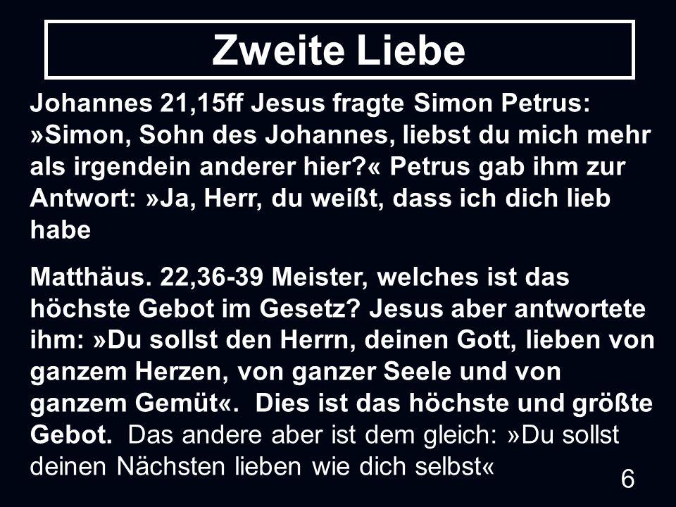 6 Johannes 21,15ff Jesus fragte Simon Petrus: »Simon, Sohn des Johannes, liebst du mich mehr als irgendein anderer hier?« Petrus gab ihm zur Antwort: