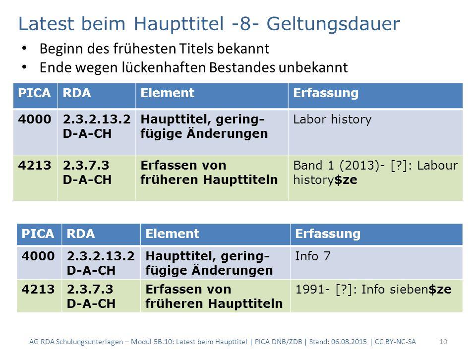 10 PICARDAElementErfassung 40002.3.2.13.2 D-A-CH Haupttitel, gering- fügige Änderungen Labor history 42132.3.7.3 D-A-CH Erfassen von früheren Haupttit