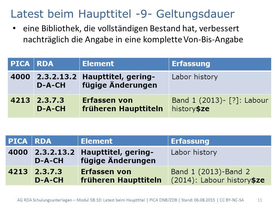 AG RDA Schulungsunterlagen – Modul 5B.10: Latest beim Haupttitel | PICA DNB/ZDB | Stand: 06.08.2015 | CC BY-NC-SA11 PICARDAElementErfassung 40002.3.2.