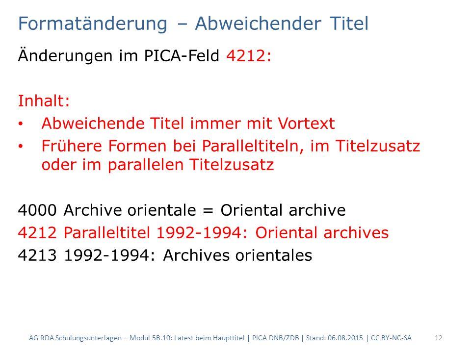 Formatänderung – Abweichender Titel Änderungen im PICA-Feld 4212: Inhalt: Abweichende Titel immer mit Vortext Frühere Formen bei Paralleltiteln, im Ti
