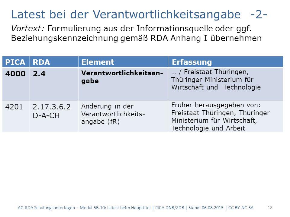 AG RDA Schulungsunterlagen – Modul 5B.10: Latest beim Haupttitel | PICA DNB/ZDB | Stand: 06.08.2015 | CC BY-NC-SA18 Latest bei der Verantwortlichkeits