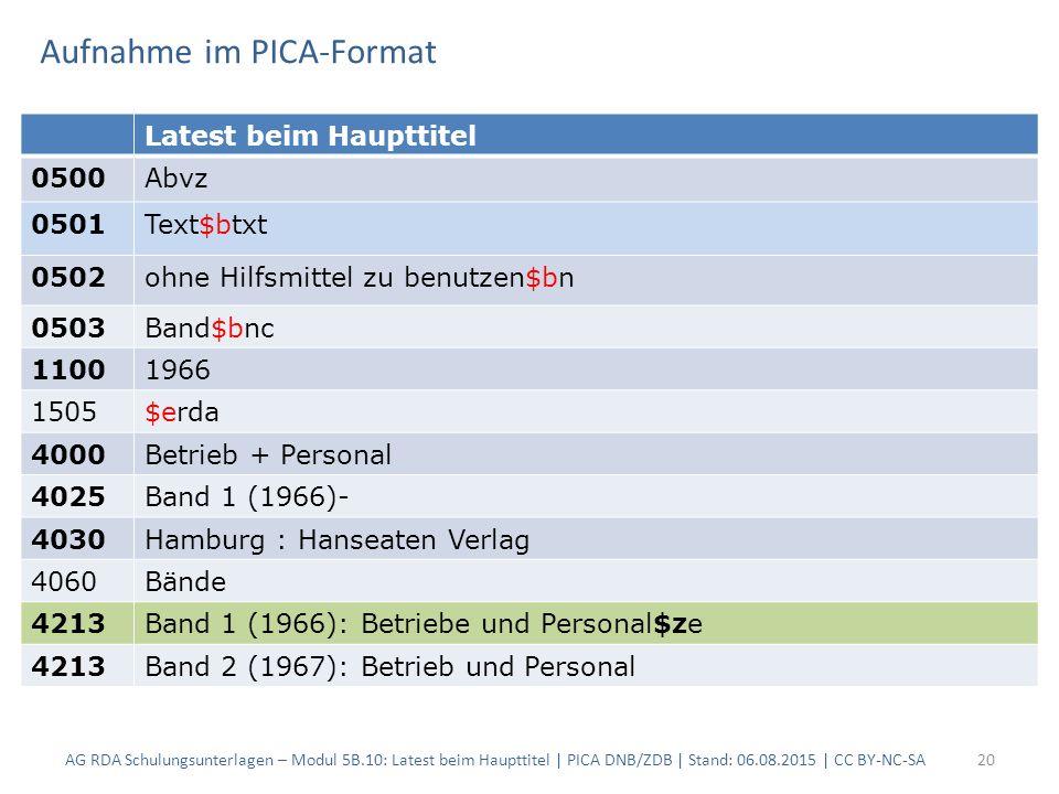 Aufnahme im PICA-Format AG RDA Schulungsunterlagen – Modul 5B.10: Latest beim Haupttitel | PICA DNB/ZDB | Stand: 06.08.2015 | CC BY-NC-SA20 Latest bei