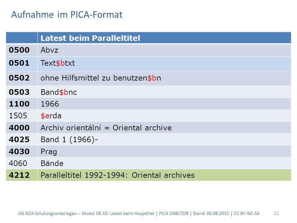 Aufnahme im PICA-Format AG RDA Schulungsunterlagen – Modul 5B.10: Latest beim Haupttitel | PICA DNB/ZDB | Stand: 06.08.2015 | CC BY-NC-SA21 Latest bei