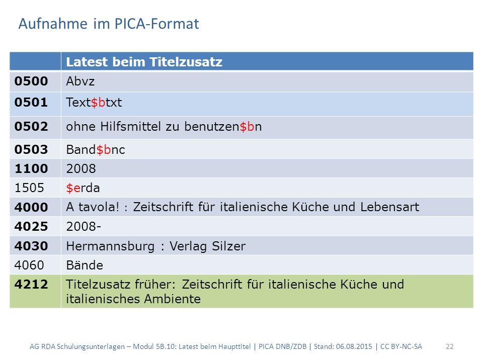 Aufnahme im PICA-Format AG RDA Schulungsunterlagen – Modul 5B.10: Latest beim Haupttitel | PICA DNB/ZDB | Stand: 06.08.2015 | CC BY-NC-SA22 Latest bei