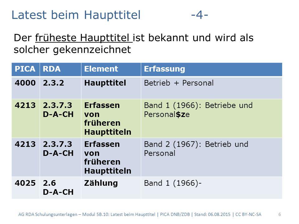 AG RDA Schulungsunterlagen – Modul 5B.10: Latest beim Haupttitel | PICA DNB/ZDB | Stand: 06.08.2015 | CC BY-NC-SA7 PICARDAElementErfassung 40002.3.2Haupttitel Geologisches Jahrbuch 40052.3.1.7Titel von Teilen … *Reihe A*Allgemeine und regionale Geologie in der Bundesrepublik Deutschland 42132.3.7.3 D-A-CH Erfassen von früheren Haupttiteln Band 3 (2003): Geologisches Jahrbuch.