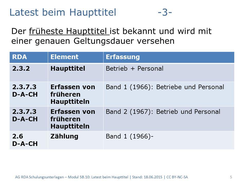 5 RDAElementErfassung 2.3.2HaupttitelBetrieb + Personal 2.3.7.3 D-A-CH Erfassen von früheren Haupttiteln Band 1 (1966): Betriebe und Personal 2.3.7.3