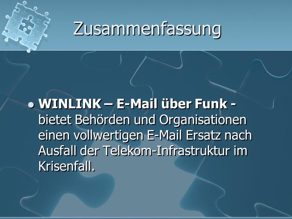 Zusammenfassung WINLINK – E-Mail über Funk - bietet Behörden und Organisationen einen vollwertigen E-Mail Ersatz nach Ausfall der Telekom-Infrastruktu