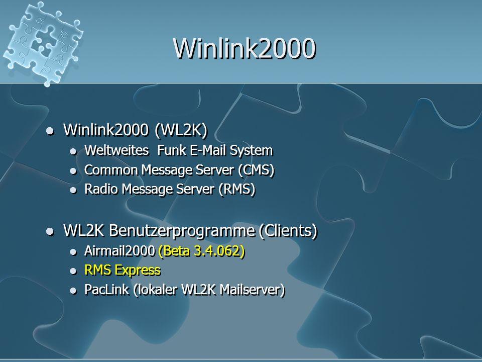 Winlink2000 in Zahlen WinlinkClassic seit 1985 Winlink2000 seit 1998 - ständige Modernisierung ~ 14.000 Benutzer ~ 100.000 Nachrichten/Monat strikte Einhaltung von RFC-Standards professionelles Netzwerkmanagement 5 Common Message Server (CMS) weltweit CMS Wien (erster CMS in Europa) 785 Radio Message Server (RMS) weltweit 185 RMS HF Stationen (Pactor, Winmor) 600 RMS Packet Stationen (VHF/UHF) Div.