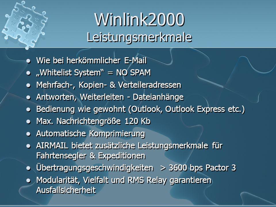 """Winlink2000 Leistungsmerkmale Wie bei herkömmlicher E-Mail """"Whitelist System"""" = NO SPAM Mehrfach-, Kopien- & Verteileradressen Antworten, Weiterleiten"""