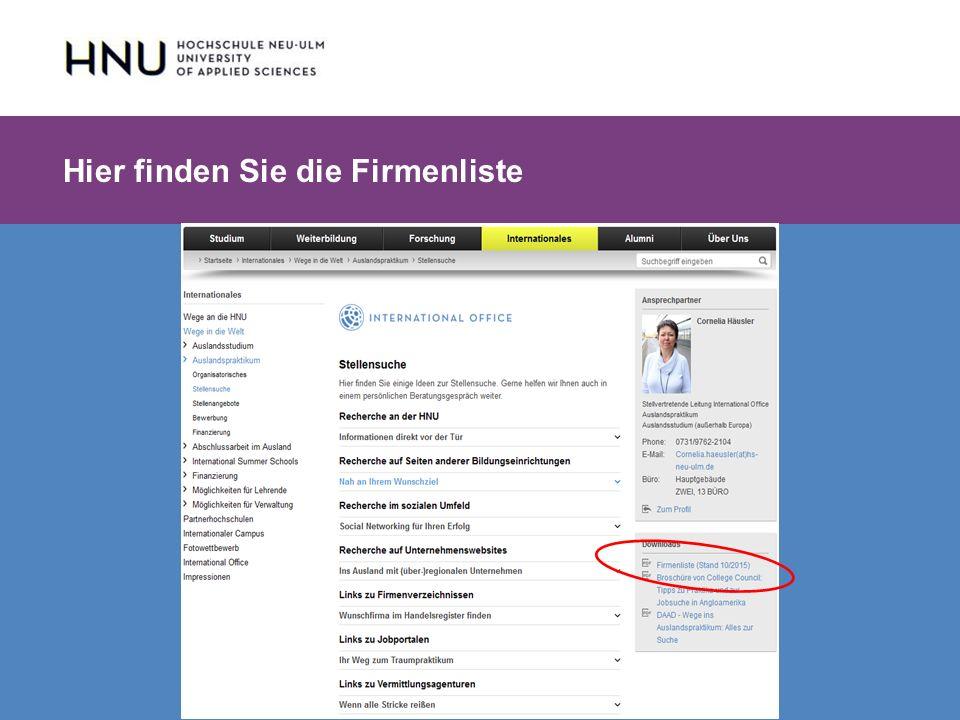 HNU | Hochschule Neu-Ulm | Prof. Dr. Maximilian Mustermann | Corporate Communications II | IMUK 5 | WiSe 2012/2013 Hier finden Sie die Firmenliste