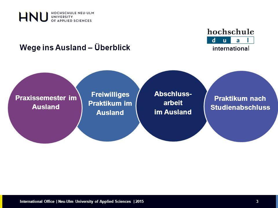 Wege ins Ausland – Überblick 3 Freiwilliges Praktikum im Ausland Praxissemester im Ausland International Office | Neu-Ulm University of Applied Scienc