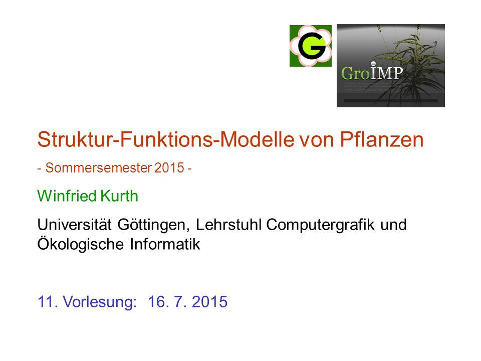 Struktur-Funktions-Modelle von Pflanzen - Sommersemester 2015 - Winfried Kurth Universität Göttingen, Lehrstuhl Computergrafik und Ökologische Informatik 11.