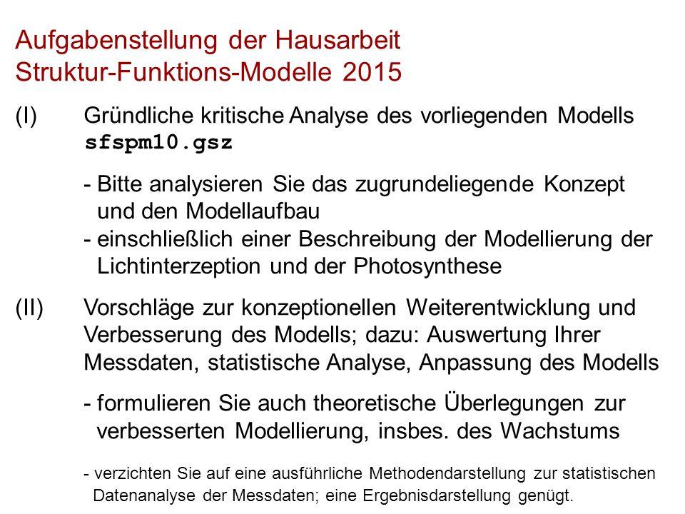 Aufgabenstellung der Hausarbeit Struktur-Funktions-Modelle 2015 (I)Gründliche kritische Analyse des vorliegenden Modells sfspm10.gsz - Bitte analysieren Sie das zugrundeliegende Konzept und den Modellaufbau - einschließlich einer Beschreibung der Modellierung der Lichtinterzeption und der Photosynthese (II)Vorschläge zur konzeptionellen Weiterentwicklung und Verbesserung des Modells; dazu: Auswertung Ihrer Messdaten, statistische Analyse, Anpassung des Modells - formulieren Sie auch theoretische Überlegungen zur verbesserten Modellierung, insbes.