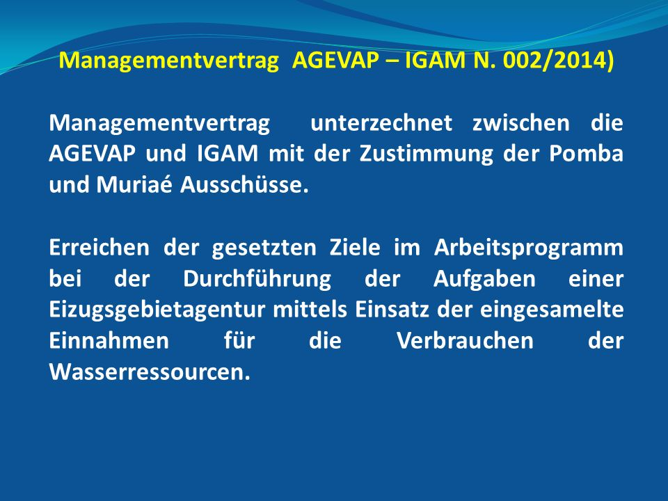 Managementvertrag AGEVAP – IGAM N.