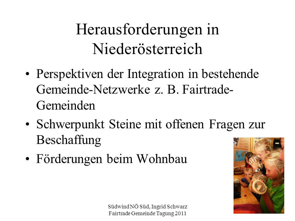 Südwind NÖ Süd, Ingrid Schwarz Fairtrade Gemeinde Tagung 2011 Herausforderungen in Niederösterreich Perspektiven der Integration in bestehende Gemeind