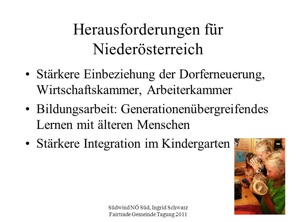 Südwind NÖ Süd, Ingrid Schwarz Fairtrade Gemeinde Tagung 2011 Herausforderungen für Niederösterreich Stärkere Einbeziehung der Dorferneuerung, Wirtsch
