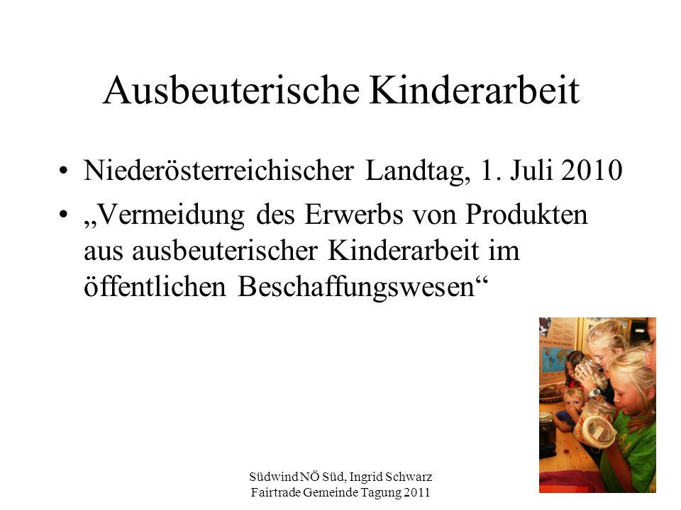 """Südwind NÖ Süd, Ingrid Schwarz Fairtrade Gemeinde Tagung 2011 Ausbeuterische Kinderarbeit Niederösterreichischer Landtag, 1. Juli 2010 """"Vermeidung des"""