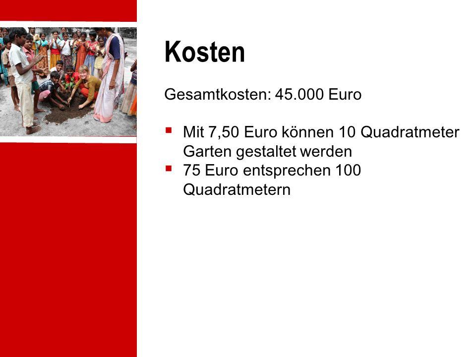 Kosten Gesamtkosten: 45.000 Euro  Mit 7,50 Euro können 10 Quadratmeter Garten gestaltet werden  75 Euro entsprechen 100 Quadratmetern