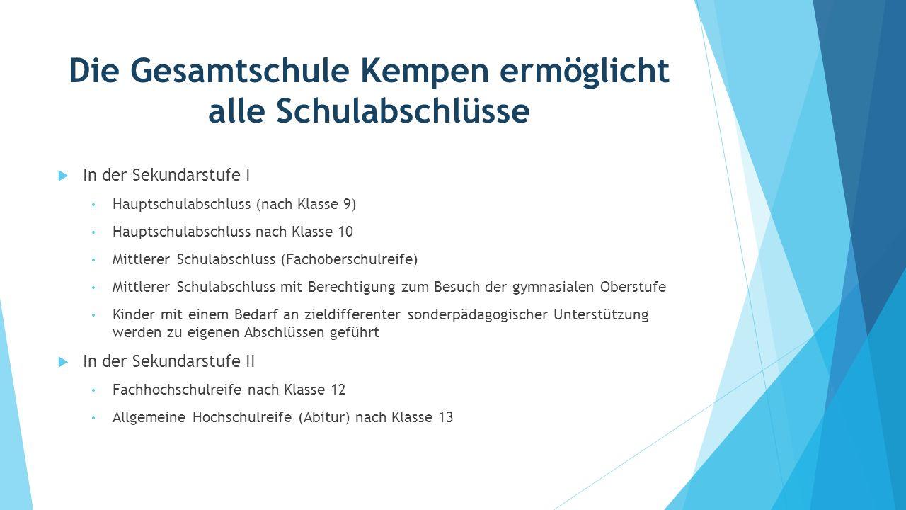 Die Gesamtschule Kempen ermöglicht alle Schulabschlüsse  In der Sekundarstufe I Hauptschulabschluss (nach Klasse 9) Hauptschulabschluss nach Klasse 1