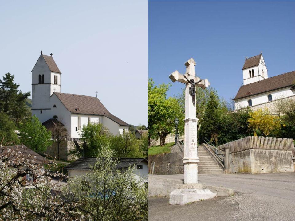 Auf einer Felsnase über dem Dorf thront die kantonal geschützte «St.Martins-Kirche».
