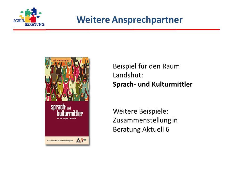 Weitere Ansprechpartner Beispiel für den Raum Landshut: Sprach- und Kulturmittler Weitere Beispiele: Zusammenstellung in Beratung Aktuell 6