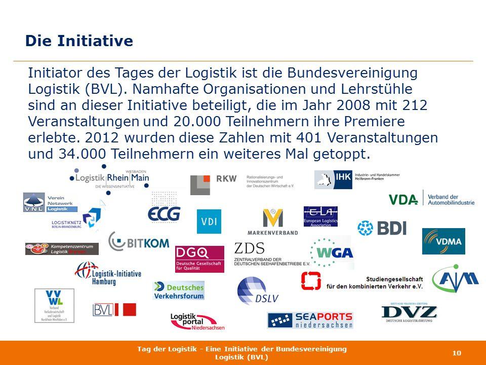 Die Initiative Initiator des Tages der Logistik ist die Bundesvereinigung Logistik (BVL). Namhafte Organisationen und Lehrstühle sind an dieser Initia