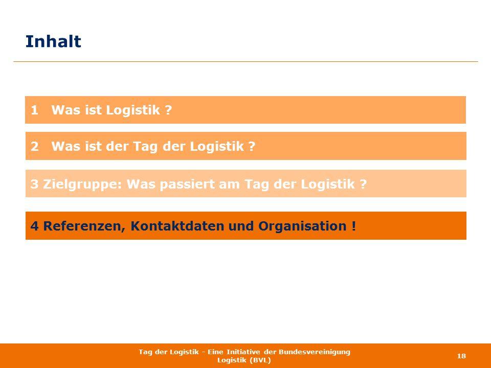 Inhalt 18 Tag der Logistik - Eine Initiative der Bundesvereinigung Logistik (BVL) 1 Was ist Logistik ? 3 Zielgruppe: Was passiert am Tag der Logistik