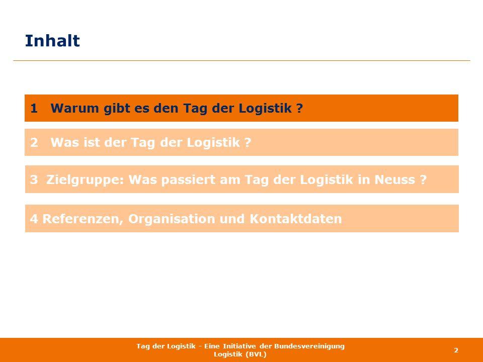 Inhalt 2 Tag der Logistik - Eine Initiative der Bundesvereinigung Logistik (BVL) 1 Warum gibt es den Tag der Logistik ? 2 Was ist der Tag der Logistik