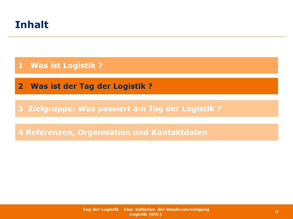 Inhalt 9 Tag der Logistik - Eine Initiative der Bundesvereinigung Logistik (BVL) 1 Was ist Logistik ? 2 Was ist der Tag der Logistik ? 3 Zielgruppe: W