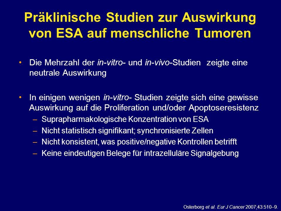 Präklinische Studien zur Auswirkung von ESA auf menschliche Tumoren Die Mehrzahl der in-vitro- und in-vivo-Studien zeigte eine neutrale Auswirkung In
