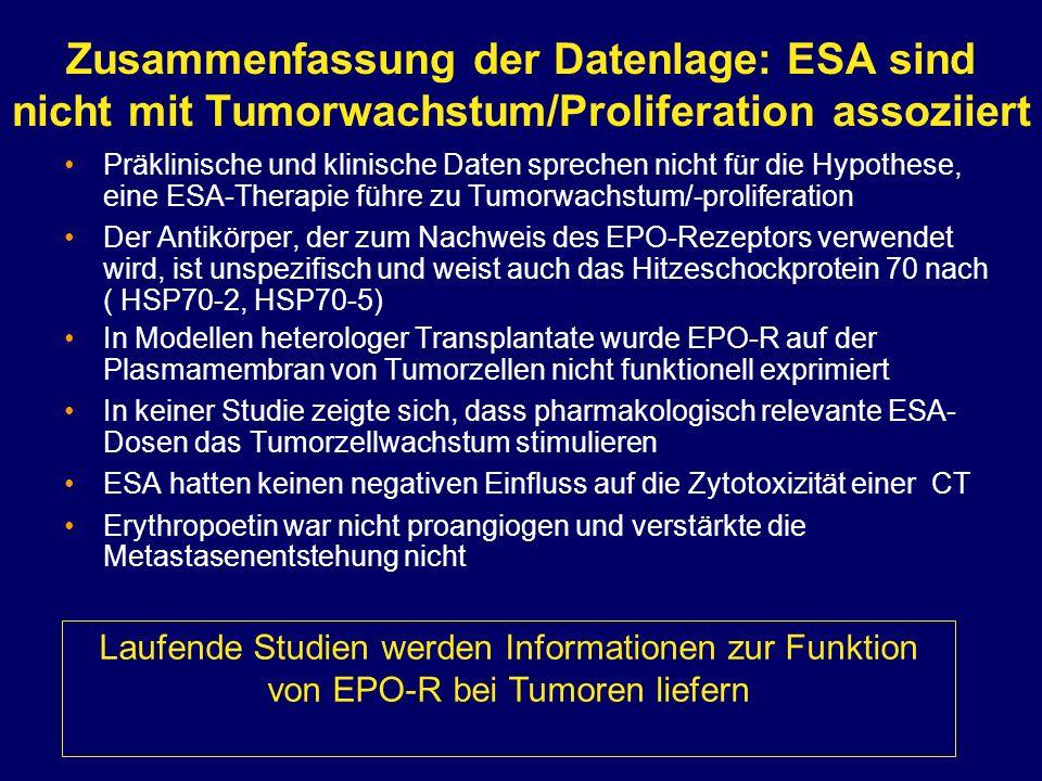 Zusammenfassung der Datenlage: ESA sind nicht mit Tumorwachstum/Proliferation assoziiert Präklinische und klinische Daten sprechen nicht für die Hypot