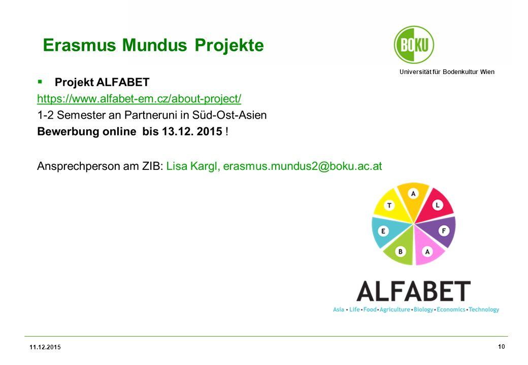 Universität für Bodenkultur Wien Erasmus Mundus Projekte 11.12.2015 10