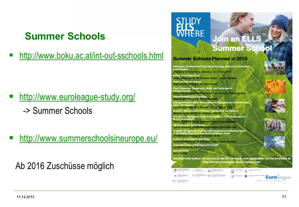 Universität für Bodenkultur Wien Summer Schools  http://www.boku.ac.at/int-out-sschools.html http://www.boku.ac.at/int-out-sschools.html  http://www.euroleague-study.org/ http://www.euroleague-study.org/ -> Summer Schools  http://www.summerschoolsineurope.eu/ http://www.summerschoolsineurope.eu/ Ab 2016 Zuschüsse möglich 11.12.2015 13