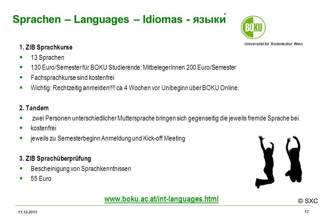 Universität für Bodenkultur Wien Sprachen – Languages – Idiomas - языки́ 1.