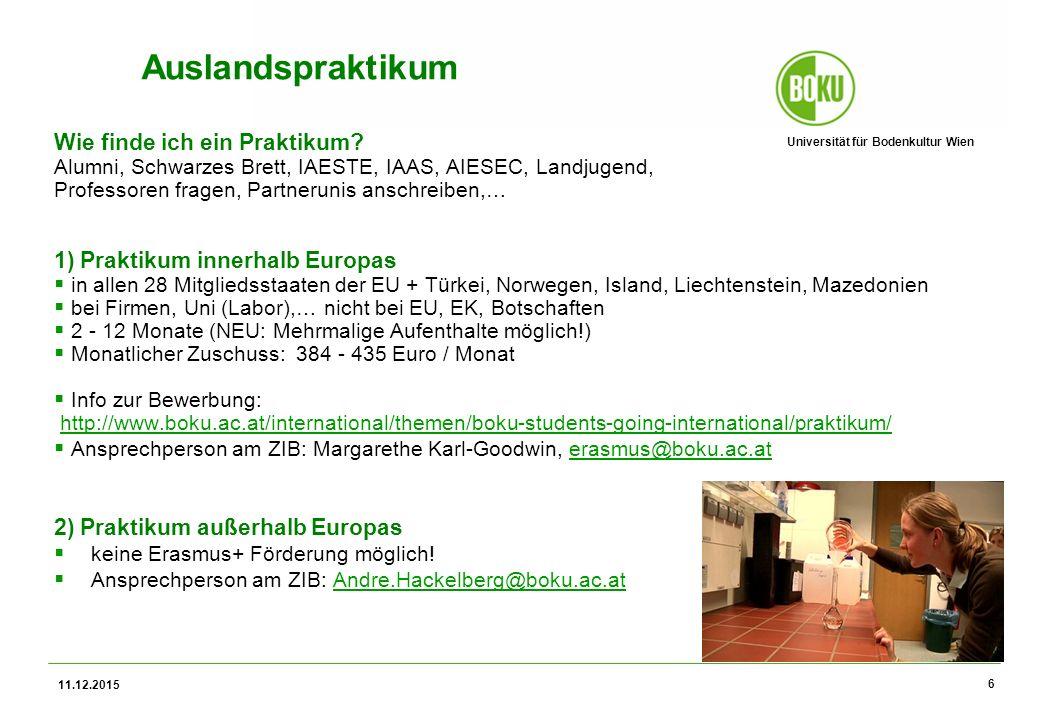 Universität für Bodenkultur Wien 11.12.2015 6 Auslandspraktikum Wie finde ich ein Praktikum.