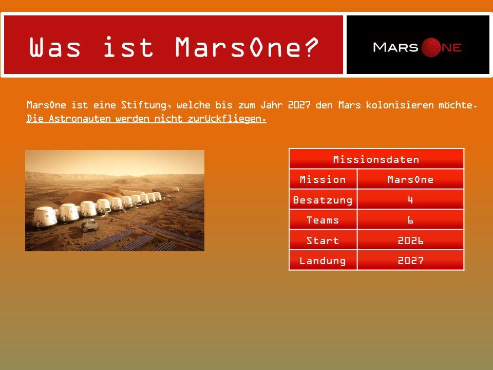 Was ist MarsOne? MarsOne ist eine Stiftung, welche bis zum Jahr 2027 den Mars kolonisieren möchte. Die Astronauten werden nicht zurückfliegen. Mission