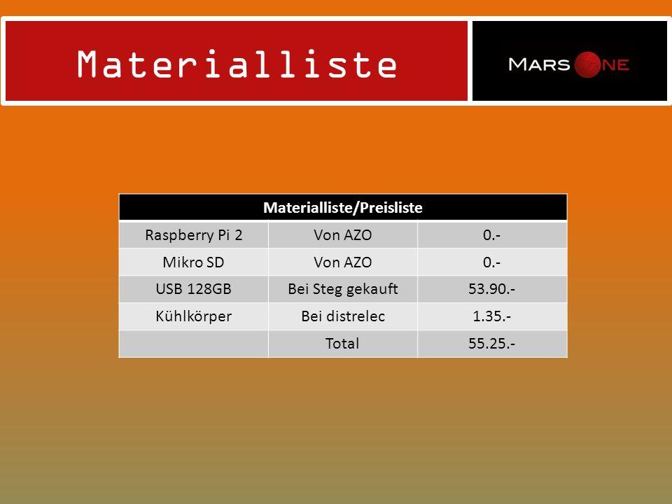 Materialliste Materialliste/Preisliste Raspberry Pi 2Von AZO0.- Mikro SDVon AZO0.- USB 128GBBei Steg gekauft53.90.- KühlkörperBei distrelec1.35.- Total55.25.-