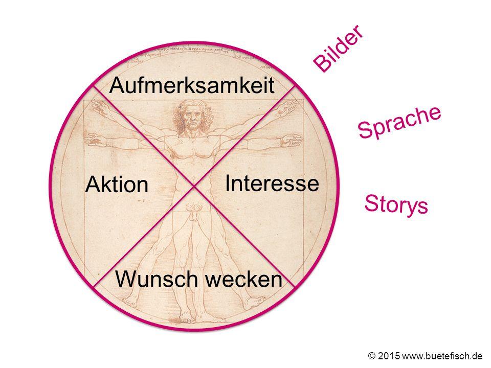 Aufmerksamkeit Interesse Wunsch wecken Aktion © 2015 www.buetefisch.de Bilder Sprache Storys