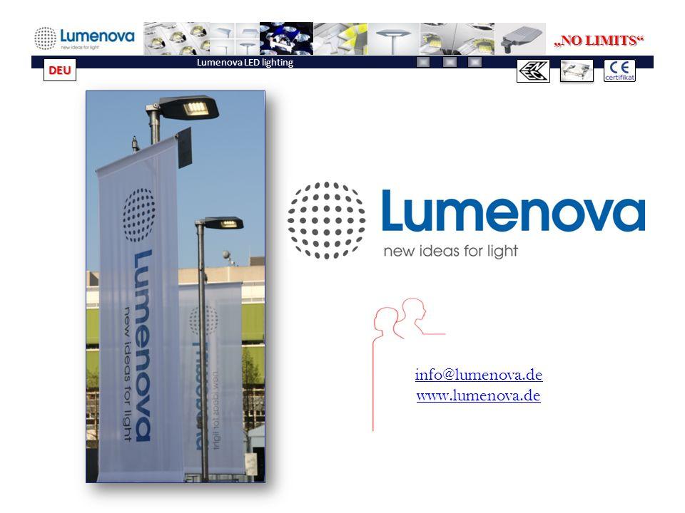 """Lumenova LED lighting info@lumenova.de www.lumenova.de """"NO LIMITS DEU"""