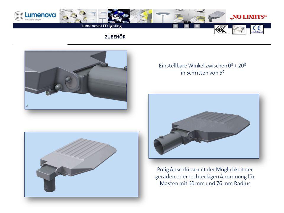"""Lumenova LED lighting ZUBEHÖR Einstellbare Winkel zwischen 0 0 + 20 0 in Schritten von 5 0 Polig Anschlüsse mit der Möglichkeit der geraden oder rechteckigen Anordnung für Masten mit 60 mm und 76 mm Radius """"NO LIMITS"""