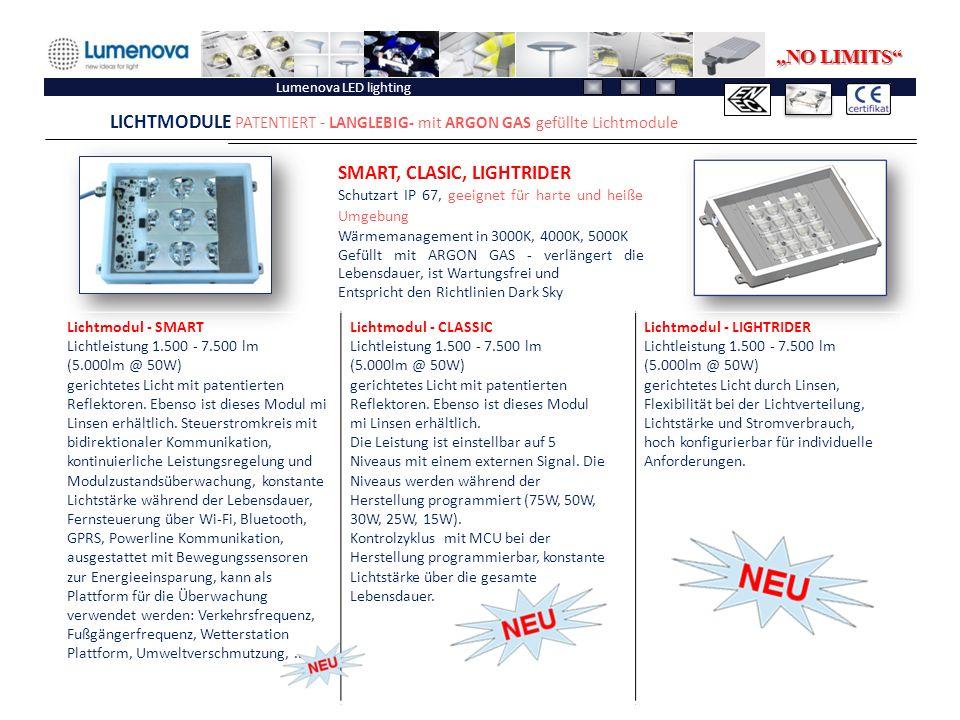 """Lumenova LED lighting LICHTMODULE PATENTIERT - LANGLEBIG- mit ARGON GAS gefüllte Lichtmodule """"NO LIMITS"""" Lichtmodul - SMART Lichtleistung 1.500 - 7.50"""